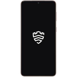 Galaxy S21 Plus 5G elölről nézve, fehér Samsung Knox logóval a képernyőn.